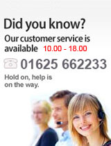 Our customer service is available from 10:0 - 18:00. Call us at 01625662233